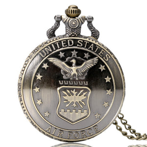 Quartz Pocket Watch Alloy United States Military Series Retro Style Round White Dial Pendant Watch Necklace Chain Clock Gift