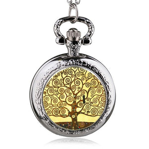 Fashion Silver Stainless Steel Tree Of Life Chain Luminous Pocket Watch Necklace Women Jewelry Glowing Pendant Chain