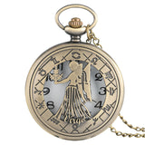 Vintage Zodiac Pattern Pocket Watch Modern Necklace Chain Copper Retro Style Twelve Constellations Clock