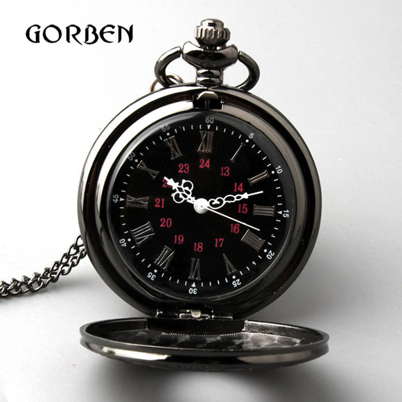 Retro Bronze Vintage Pocket Watch Necklace Chain Pendant Black Antique Steampunk Quartz Pocket Watches Relogio De Bolso New