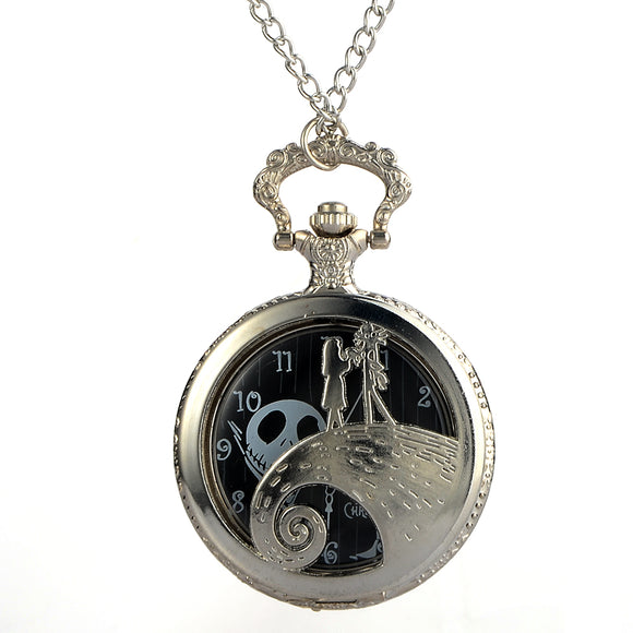 Cindiry Antique Black Nightmare Before Christmas Theme Pocket Watch Vintage Steampunk Pendant Fob Necklace Gift