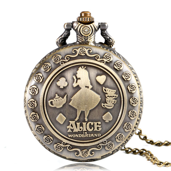 Retro Alice in Wonderland Theme Bronze Quartz Pocket Watches Vintage Fob Watches Christmas Birthday Gift