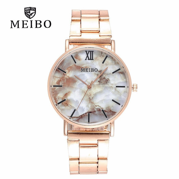 Fashion Women Rose Gold Steel Marble Pattern Wrist Watches Casual Quartz Watches Gift Clock Relogio Feminino