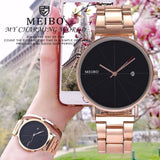 Hot Fashion Women Rose Gold Watch With Calendar Casual Luxury Stainless Steel Quartz Wristwatches Relogio Feminino