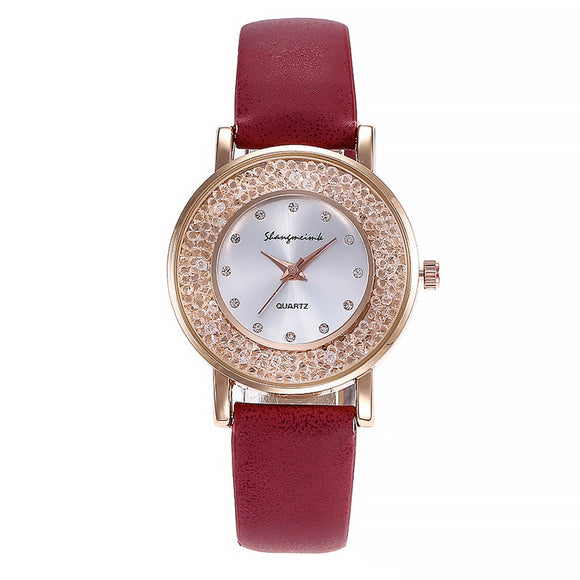 Leather Diamond Stainless Steel Wrist Watch