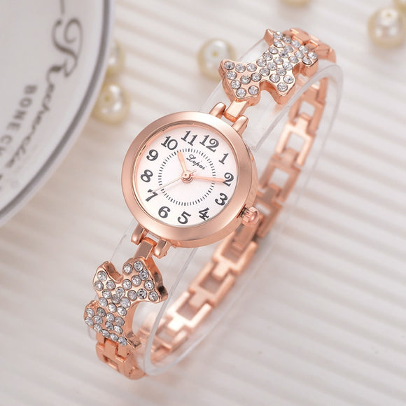 Dog Desgin Quartz Luxury Rhinestone Band