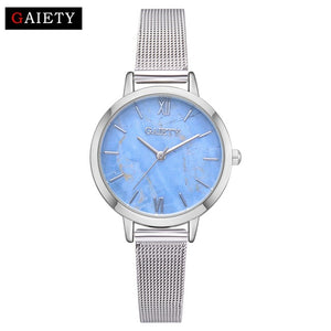 Creative Mesh Band Marble Quartz Watch Casual Women Stainless Steel