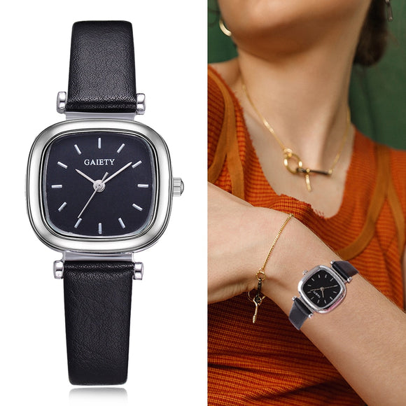 Watch Women Leather Strap Square