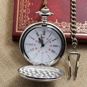 Silver Smooth Quartz Pocket Watch With Short Chain