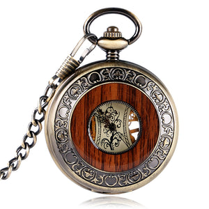 Retro Luxury Wood Circle Skeleton Pocket Watch Mechanical Hand-winding Roman numerals Necklace Gift