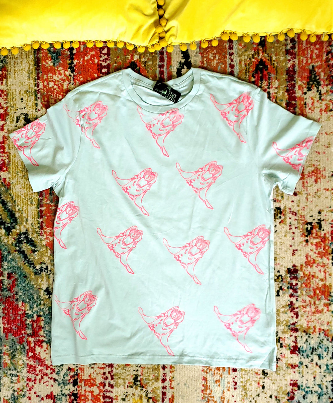 T-Shirt Screaming Bunnies Pattern Print