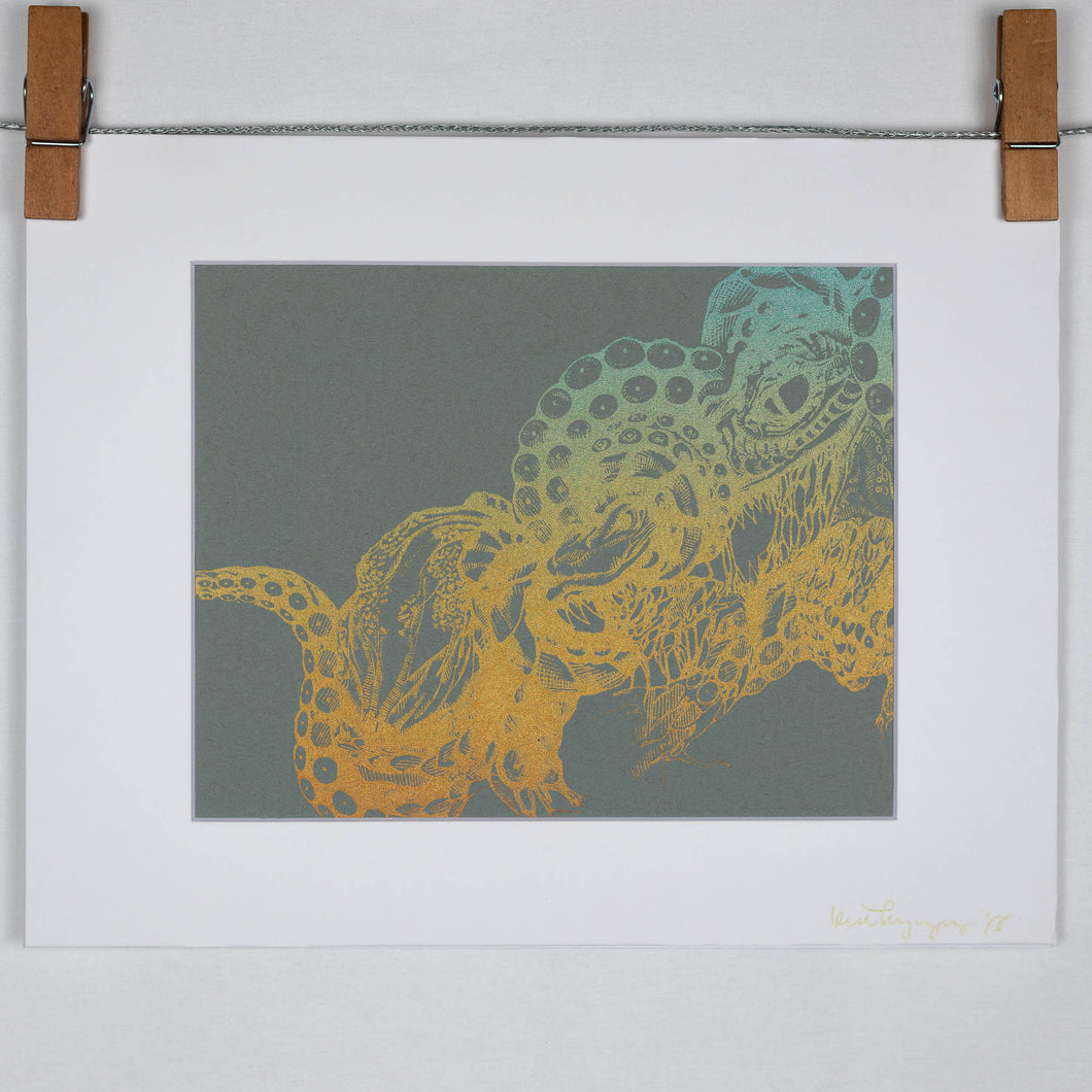 Octopus Vs. Dragon Serigraph Large