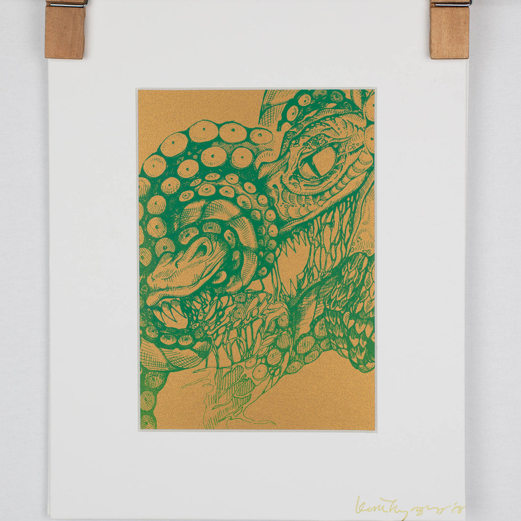 Octopus Vs Dragon Print