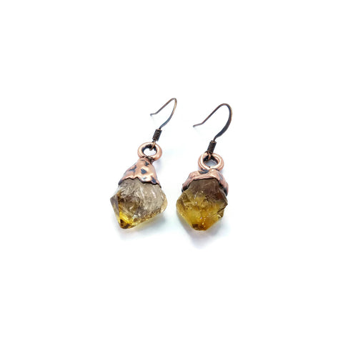 Raw Citrine Earrings | Citrine Dangle Earrings | Citrine Drop Earrings | Raw Crystal Earrings | Crystal Earrings | Boho Earrings | Bohemian