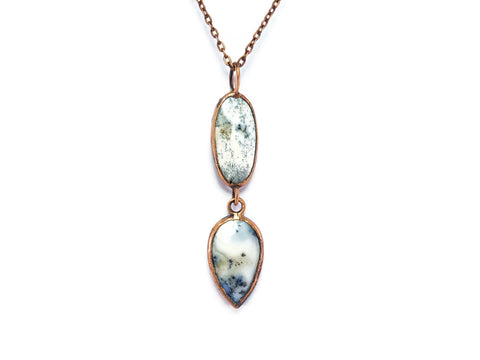 Dendrite Opal Necklace | Dendrite Opal Pedant | Dendrite Opal Jewelry | Electroformed Necklace | Crystal Necklace | Statement Necklace