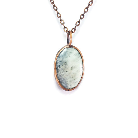Raw Opal Agate Necklace Jewelry Pendant | Raw Electroformed Copper | Natural Crystal