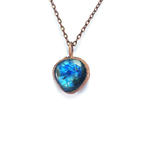 Raw Labradorite Necklace Jewelry | Raw Electroformed Copper | Pendant | Natural Crystal