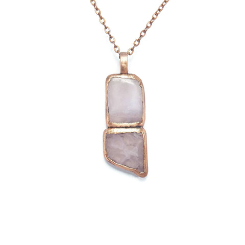Raw Rose Quartz Necklace | Rose Quartz Necklace | Rose Quartz Pendant | Rose Quartz Jewelry | Electroformed Necklace | Crystal Necklace