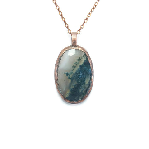 Raw Moss Agate Necklace | Moss Agate Necklace | Moss Agate Pendant | Moss Agate Jewelry | Electroformed Necklace | Crystal Necklace | Boho