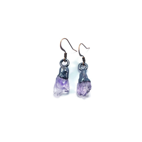 Raw Amethyst Earrings | Raw Amethyst Dangle Earrings | Amethyst Drop Earrings | Raw Crystal Earrings | Crystal Earrings | Boho Earrings
