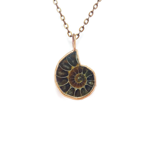 Ammonite Necklace | Ammonite Pendant | Raw Ammonite Necklace | Ammonite Jewelry | Electroformed Necklace | Crystal Necklace | Boho Necklace
