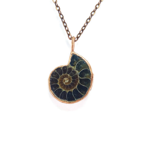 Ammonite Necklace | Raw Ammonite Necklace | Ammonite Pendant | Ammonite Fossil Jewelry | Electroformed Necklace | Crystal Necklace