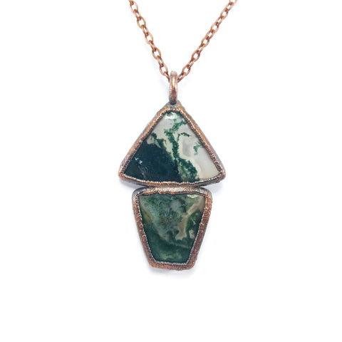Raw Moss Agate Necklace | Moss Agate Pendant | Moss Agate Jewelry | Boho Necklace | Electroformed Necklace | Crystal Necklace | Raw Necklace