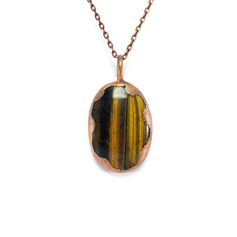 Tigers Eye Necklace | Raw Tigers Eye Necklace | Tigers Eye Pendant | Tigers Eye Jewelry | Electroformed Necklace | Crystal Necklace | Boho
