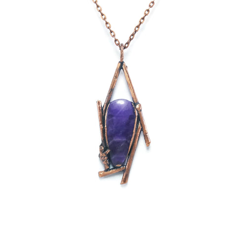 Raw Amethyst Necklace | Amethyst Necklace | Amethyst Pendant | Amethyst Jewelry | Electroformed Necklace | Crystal Necklace | Boho Necklace
