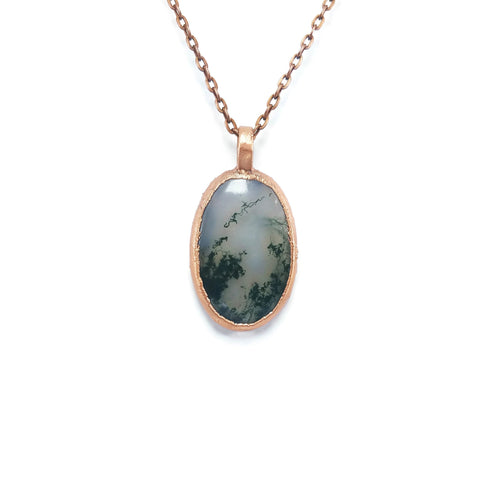 Raw Moss Agate Necklace Jewelry | Raw Electroformed Copper Pendant | Crystal Natural