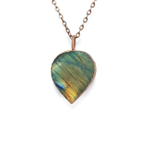 Labradorite Necklace | Raw Labradorite Necklace | Labradorite Pendant | Labradorite Jewelry | Electroformed Necklace | Crystal Necklace