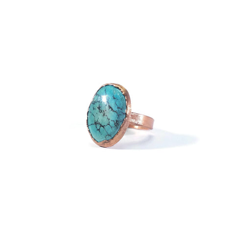 Kingman Turquoise Ring Natural Raw Turquoise Ring Copper Turquoise Ring Native American Cherokee Jewelry Boho Hippie Raw Gemstone Ring