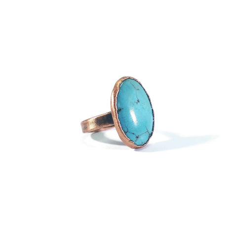 Raw Turquoise Ring | Turquoise Ring | Turquoise Jewelry | Dainty Ring | Copper Ring | Electroformed Ring | Crystal Ring | Boho Ring