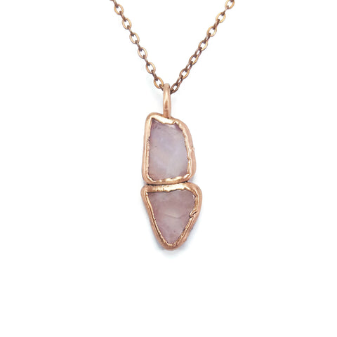 Raw Rose Quartz Necklace Jewelry | Raw Electroformed Copper | Pendant | Natural Crystal