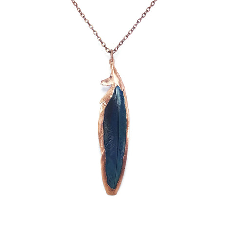 Raw Feather Necklace Jewelry | Raw Electroformed Copper | Pendant | Natural Crystal