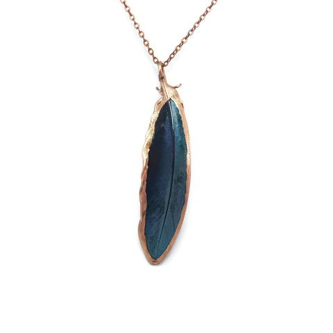 Real Feather Necklace Pendant | Macaw Feather Necklace | Blue Macaw Jewelry | Electroformed Necklace | Crystal Necklace