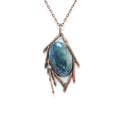 Raw Moss Agate  Necklace Jewelry | Raw Electroformed Copper Pendant | Natural Crystal