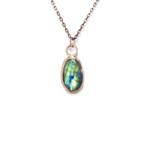 Raw Labradorite Necklace | Labradorite Pendant | Labradorite Jewelry | Copper Necklace | Electroformed Necklace | Crystal Necklace | Boho