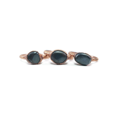 Raw Hematite Ring | Hematite Ring | Copper Hematite Ring | Dainty Hematite Ring | Stacking Hematite Ring | Raw Crystal Ring | Raw Stone Ring