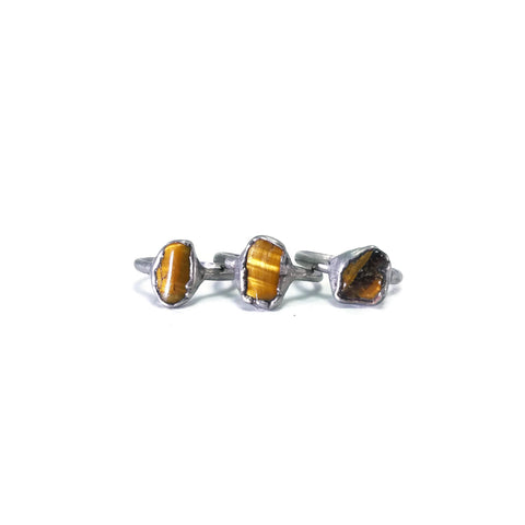 Silver Tigers Eye Ring | Raw Tigers Eye Ring | Tigers Eye Ring | Tigers Eye Jewelry | Electroformed Ring | Raw Crystal Ring | Crystal Ring