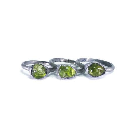 Silver Peridot Ring | Raw Peridot Ring | Peridot Ring | Green Peridot Ring | Electroformed Ring | August Birthstone Stone | Crystal Ring
