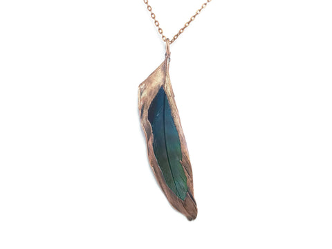 Real Feather Necklace | Feather Pendant | Macaw Feather Necklace | Blue Macaw Jewelry | Real Feather Jewelry | Electroformed Necklace | Boho