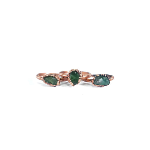 Raw Green Apatite Ring | Green Apatite Ring | Apatite Ring | Copper Apatite Ring | Stacking Apatite Ring | Dainty Apatite Ring | Raw Ring