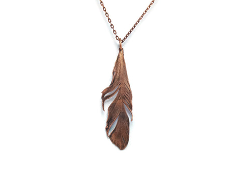 Real Feather Necklace | Feather Pendant | Real Feather Jewelry | Copper Feather Necklace | Statement Necklace | Boho Necklace | Bohemian