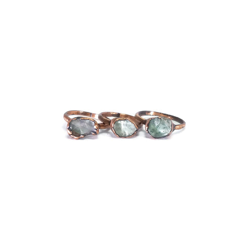 Flourite Ring | Raw Flourite Ring | Flourite Jewelry | Dainty Ring | Copper Ring | Electroformed Ring | Raw Crystal Ring | Crystal Ring