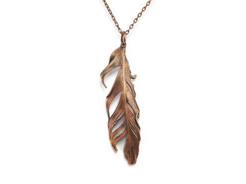 Real Feather Necklace Pendant | Feather Jewelry | Copper Feather Necklace | Electroformed Feather Necklace | Raw Necklace
