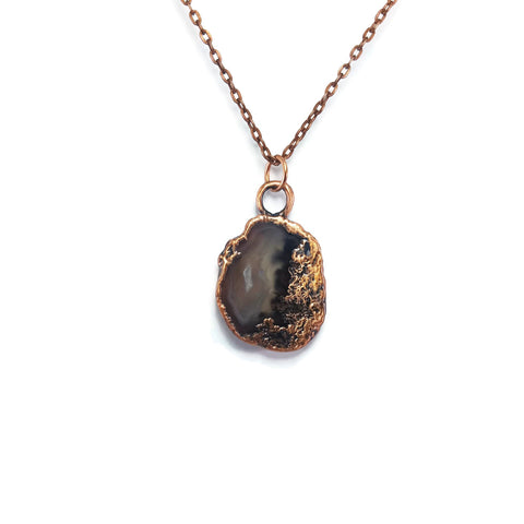 Raw Agate Slice Necklace | Raw Agate Pendant | Raw Agate Necklace | Raw Agate Jewelry | Electroformed Necklace | Crystal Necklace | Boho