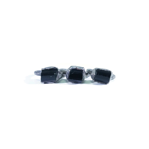 Silver Black Tourmaline Ring | Raw Black Tourmaline Ring | Black Tourmaline Ring | Tourmaline Jewelry | Electroformed Ring | Crystal Ring