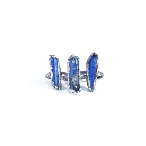 Silver Blue Kyanite Ring | Raw Blue Kyanite Ring | Kyanite Ring | Kyanite Jewelry | Electroformed Ring | Raw Crystal Ring | Crystal Ring