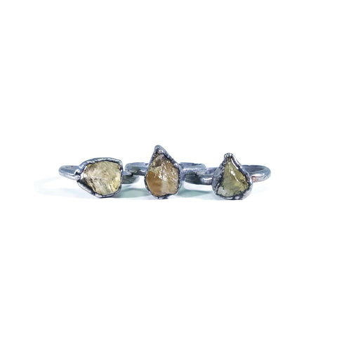 Silver Citrine Ring | Raw Citrine Ring | Citrine Ring | November Birthstone Ring | Electroformed Ring | Raw Crystal Ring | Crystal Ring